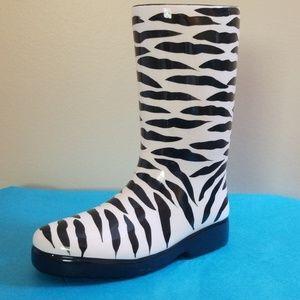 Zebra Stripes Glass Boot Flower Vase